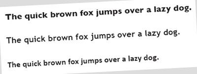 Headings in various typefaces
