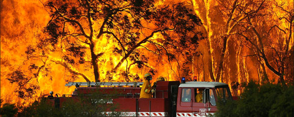 Bushfires in Victoria, Australia. AP photo found on Boston.com.