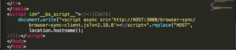 Browser Sync HTML Code